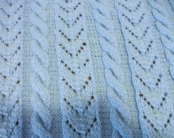 Pastel Blue Cables and Lace Baby Blanket