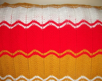 Red, White and Gold  Afghan