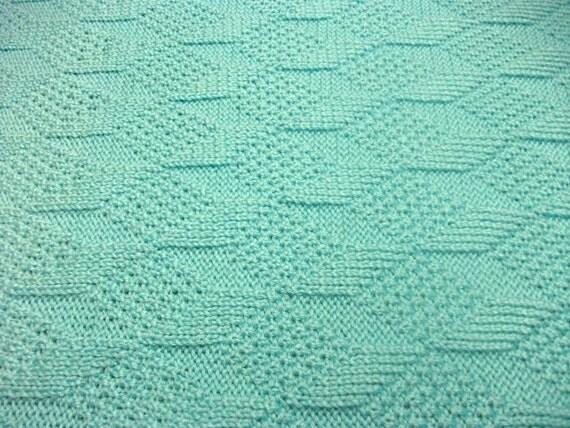 Aqua Reversible Diamonds Baby Blanket