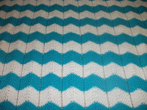 White and Turquoise Chevron Baby Blanket