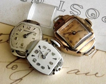 3 Vintage Ladies Watch Movements for Steampunk Jewelry by avintageobsession on etsy