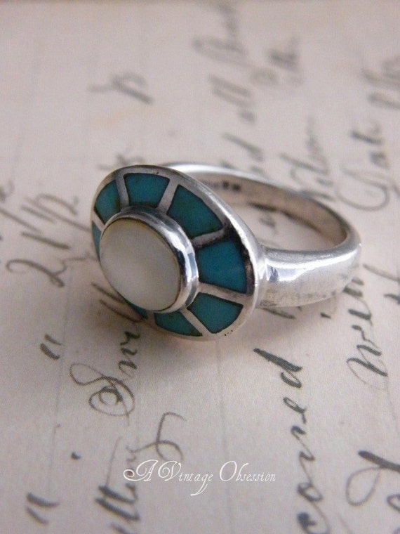 Vintage Turquoise Sterling Silver Ring by avintageobsession on etsy