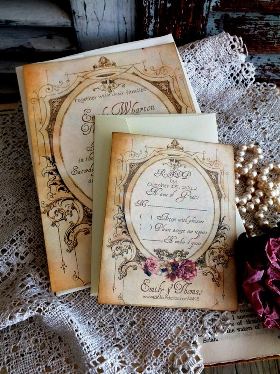 CUSTOM ORDER for Jemma Barden... Romantic Vintage Wedding Invitation Suite Handmade by avintageobsession on etsy