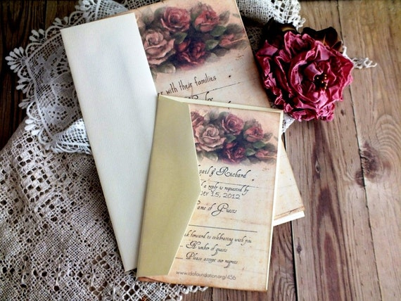 CUSTOM ORDER DEPOSIT for sherry kelley...Vintage Faded Roses Wedding Invitation Suite Handmade by avintageobsession on etsy