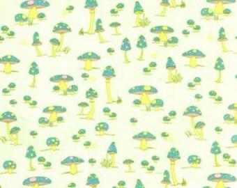 Mushroom Friends fat quarter, Jay McCarroll, Woodland Wonderland, green, lime, yellow green, shrooms, quilter's cut, fat quarter, supply