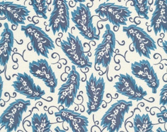 Denyse Schmidt fabric, Ladies League in blueberry, Greenfield Hill, geometric leaves, cornflower blue and white, OOP, choose size of cut