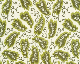 Denyse Schmidt fabric, Ladies League in dogwood, Greenfield Hill, green and white fabric, choose size of cut