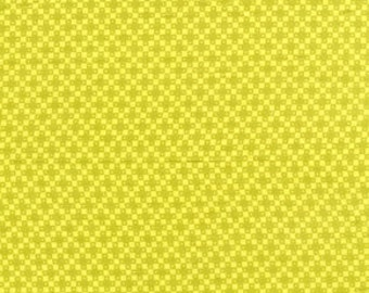 Four Square Fabric, Hope Valley fabric, Denyse Schmidt fabric, piney woods, chartreuse yellow yardage, choose size of cut