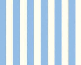 Dena Designs fabric, Color Stripe in blue, Taza, light cornflower periwinkle blue, cream white, geometric stripes, choose size of cut
