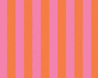 Taza Fabric, Tent Stripe in tart, pink and orange, Dena Designs fabric, circus colors, yardage, choose size of cut