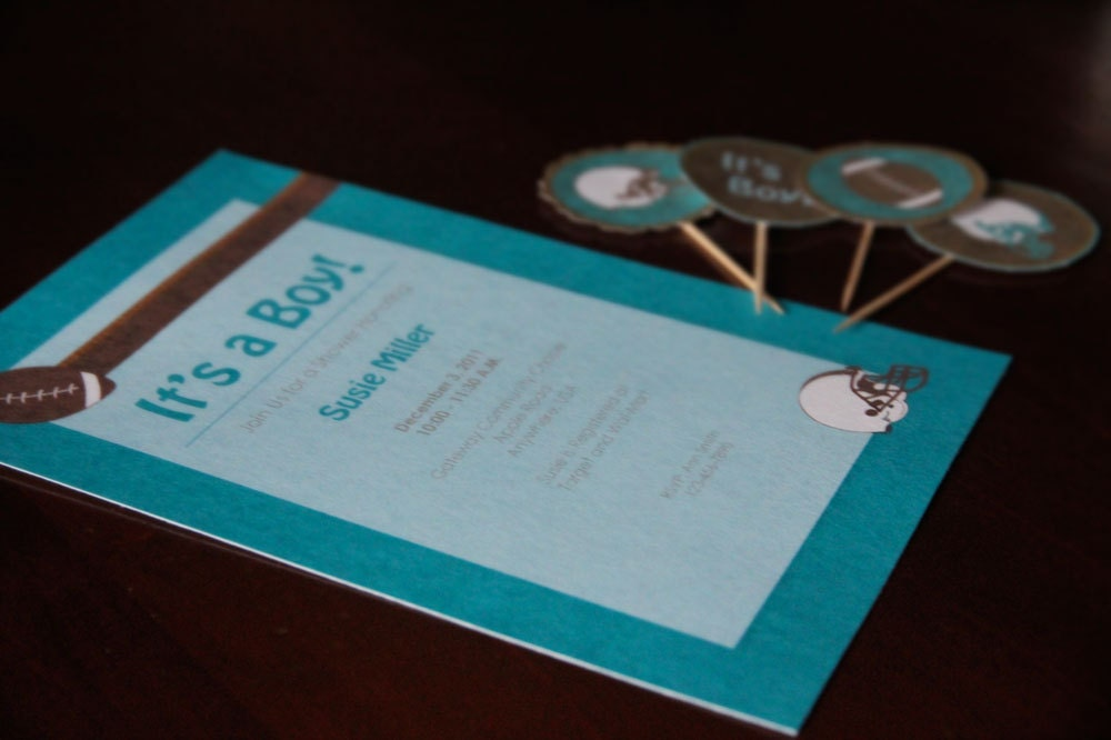 football themed baby shower birthday invitation set diy