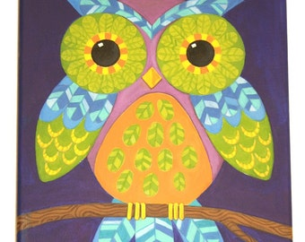 Neon Night Owl - Original Acrylic on Canvas