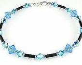 Sparkling Dark Blue Swarovski Crystal Anklet - Swarovski Crystal Blue Ankle Bracelet - Dark Blue Anklet
