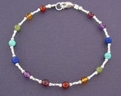 Plus Size Anklet - Rainbow Gemstone Ankle Bracelet - 12 inches and up