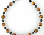 Tiger Eye Anklet - Tigereye Ankle Bracelet with Black Onyx Accents - 9 inch to 11 inch Tigerseye Anklet - Small to Plus Size Anklet