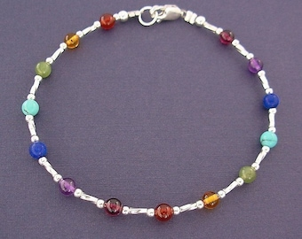 Rainbow Anklet - Gemstone Anklet in Sterling Silver - Ankle Bracelet - 9 inches, 9.5, 10 inches, 10.5, or 11 inches