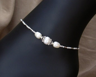 Pearl Anklet - Center Station Pearl Ankle Bracelet in Sterling Silver - Petite to Plus Size Anklet, 8.5 Inches to 14 Inches, Your Choice