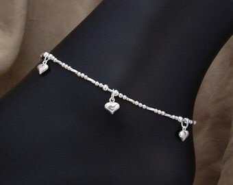 Heart Charm Anklet - Sterling Silver Anklet with Tiny Heart Charms - Small to Plus Size Anklet - Sterling Silver Ankle Bracelet, 9-14 Inches