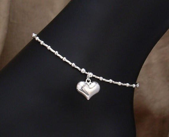 Sterling Silver Anklet - Heart Charm Ankle Bracelet - 9, 9.5, 10, 10.5, 11, 11.5, 12, 12.5, 13, 13.5, or 14 Inch, Small - Plus Size Anklet