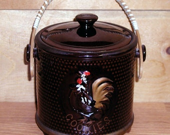 Vintage Rooster Cookie Jar Wicker Handle Petit Ceramic Brown Hobnail Texture Petite CrabbyCats Crabby Cats