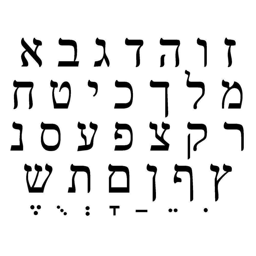 HEBREW ALPHABET Unmounted Rubber Stamp Sheet From CrabbyCats