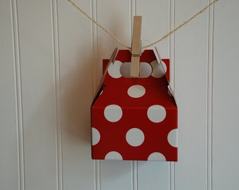 Mini Gable Boxes - Red and White Dot - Set of 12