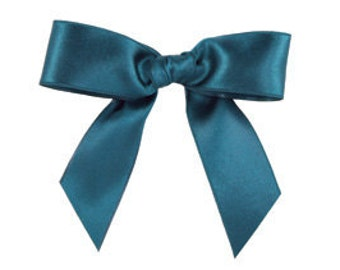 """Midori Embossed-Edge Double Faced Satin - 1"""" inch - Midnight Green (5 YDS)"""