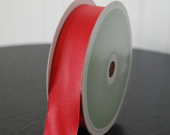 Midori Embossed-Edge Double Faced Satin - 1 inch - Red (5 YDS)