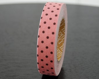 Fabric Tape - Pink with Brown Dots (1 Roll)