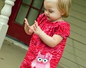Zebra Owl applique Peasant dress - sizes 5t 6 7/8 9/10 11/12