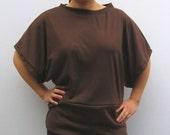 Kimono Sleeve Top in Chocolate/ Tshirt/ Fall/ Tunic/ Oversized/ Brown/ Women/ Handmade