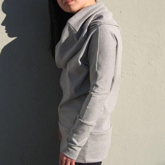 Amazing Versatile Long Cowl Neck Sweatshirt in Grey Red or Black