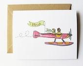 Seaplane Hello Dogs Card