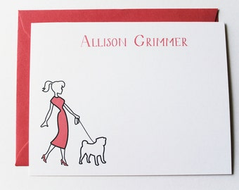 Personalized Stationery - Girl Walking Pooch Note Cards (Set of 8)