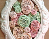 Shabby Chic Nursery PAPER handmade roses handmade flowers SET of 15 paper flowers