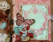 Shabby Chic Red and Aqua Premade Scrapbook Album - mini album PFOP  Chipboard Album with Butterflies