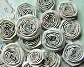 Shabby Chic Ivory Paper handmade Roses handmade flowers SET of 15 paper flowers cream