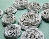 Basic Grey Vocab School Paper Handmade flowers SET of 10 handmade roses white with brown script