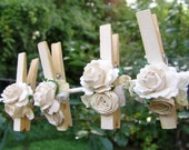 Antique White Shabby Chic Wedding decorated Clothes Pins Decoration Ember's Pegs Set of 8 pins with handmade paper flowers