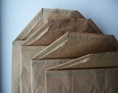 4 Recycled Mailing Envelopes - 8 X 10 Sewn Sides - Flap Top - 3 Layers of Brown Paper Recycled from Feed Sacks