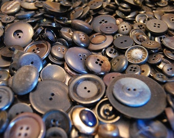 Over Two Pounds of Vintage Black Buttons - Mostly Plastic - Reduce Reuse Recycle - Plastic Craft Buttons - Pre School Crafts -
