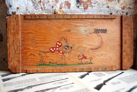 Vintage Wooden Scotty Dog New York Tray