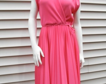 Coral Pleated Disco Dress