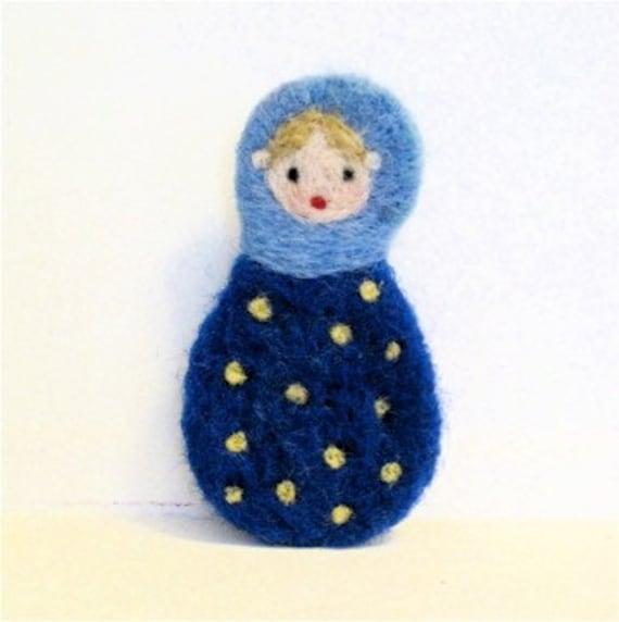 Matryoshka Brooch Navy Blue Russian Nesting Doll Needle Felted