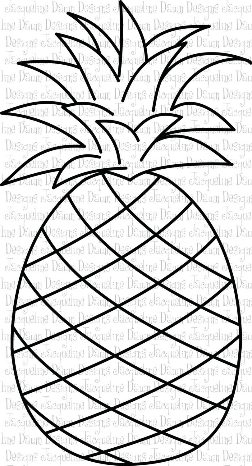 pineapple coloring page - digital stamp hawaiian pineapple by paperaddictions on etsy