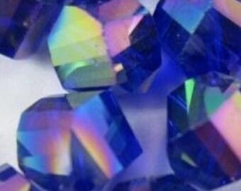 RARE 8mm Helix Cut Cobalt Swarovski Crystal  AB 2x - (10 pc)