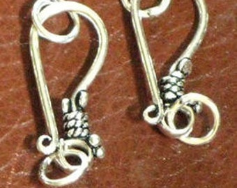 Sterling Silver Hook and Eye Clasp - 22x10mm  (2)