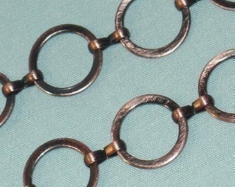 12mm Antiqued Copper Round Chain (2 ft)