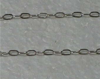 Sterling Silver Drawn Flat chain, (2mm) 2 foot