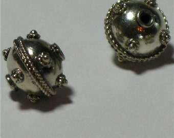 Sterling silver focal beads, Bali bead (1)